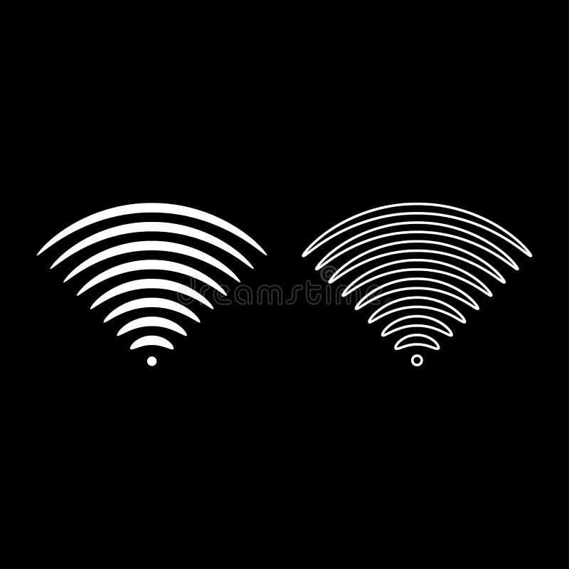Ställde översikten in för symbolen för sändaren för dirrectionen för solid signal en för radiovågen bild för stil för vit färgvek stock illustrationer