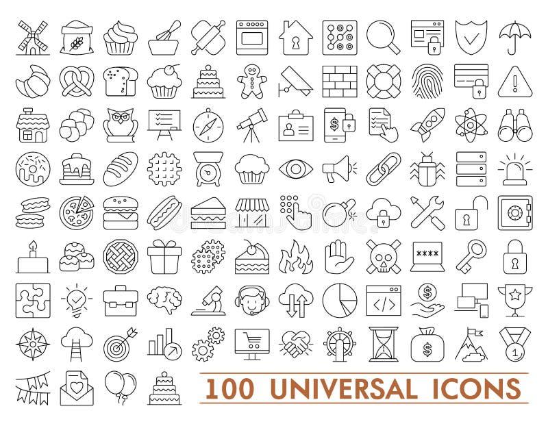 100 ställde in av universella symboler för rengöringsduk och mobil Stor packe av den moderna minimalistic tunna linjen symboler stock illustrationer