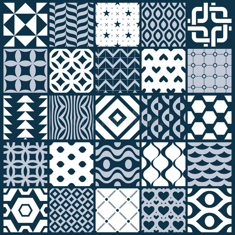 Ställde dekorativa svartvita sömlösa bakgrunder in för vektor, geomet vektor illustrationer