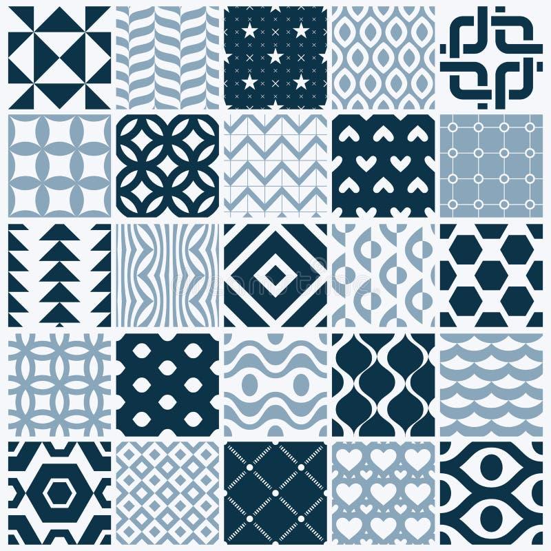 Ställde dekorativa svartvita sömlösa bakgrunder in för vektor, geomet stock illustrationer