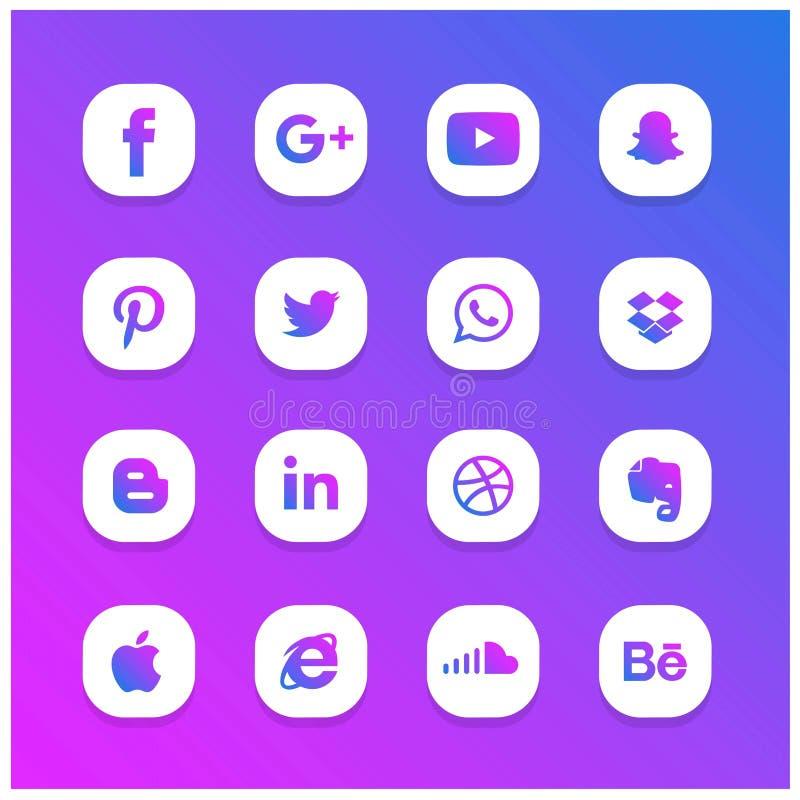 Ställde den abstrakta glödande sociala nätverkssymbolen in för blått och för lilor stock illustrationer