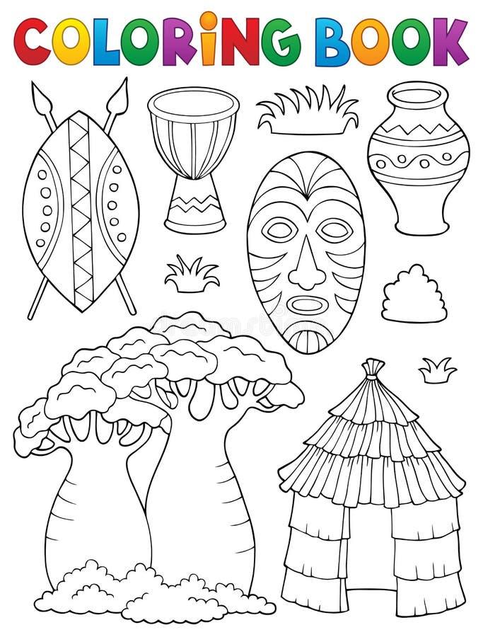 Ställde den afrikanska thematicsen in för färgläggningbok 1 royaltyfri illustrationer