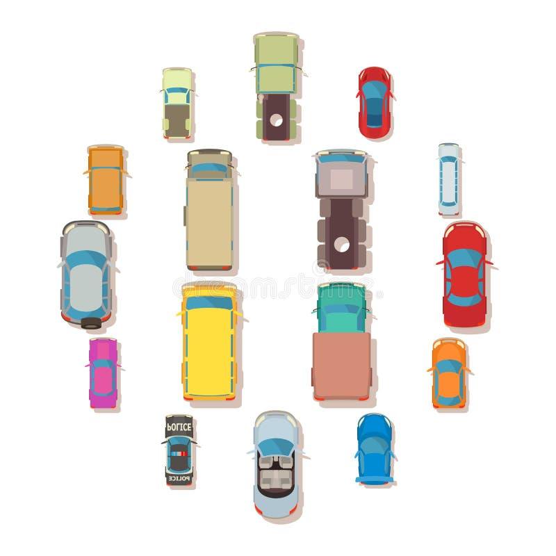 Ställde den bästa sikten in för bilen över över symboler, plan stil stock illustrationer