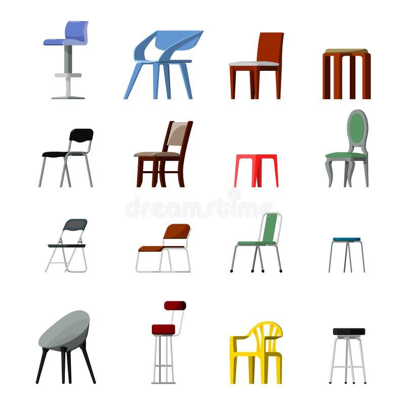 Ställde den bekväma platsen in för stolvektorn i inre stildesign av den moderna kontor-stol och fåtöljillustrationen av lägerstån stock illustrationer