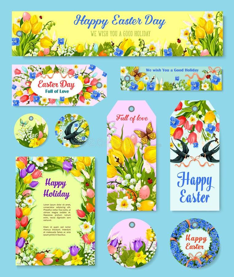 Ställde den blom- etiketten för påskägget och hälsningaffischen in royaltyfri illustrationer