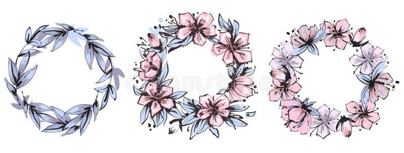 Ställde den blom- ramen in för tappning med sida- och blommabevekelsegrunder också vektor för coreldrawillustration royaltyfri illustrationer