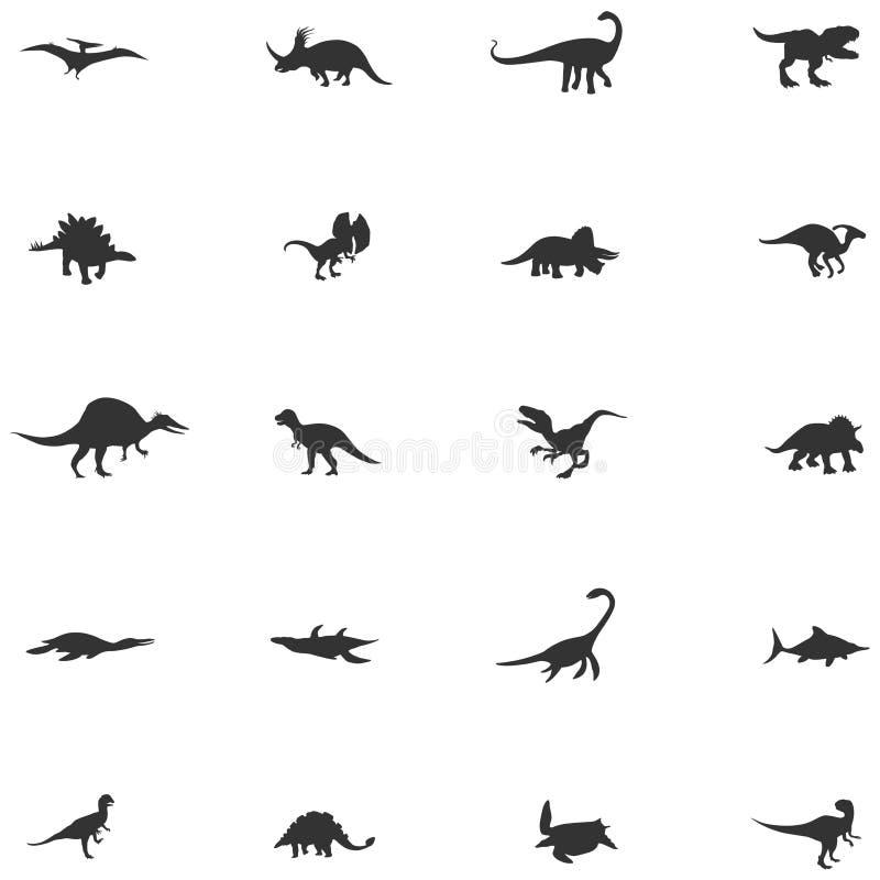 Ställde den djura symbolen in för konturdinosaurien och för den förhistoriska reptilen vektor illustrationer