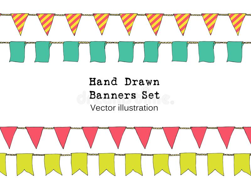 Ställde den färgrika handen drog klotterbuntingbaner in för garnering Tecknad filmbaneruppsättningen, bunting flaggor, gräns skis vektor illustrationer