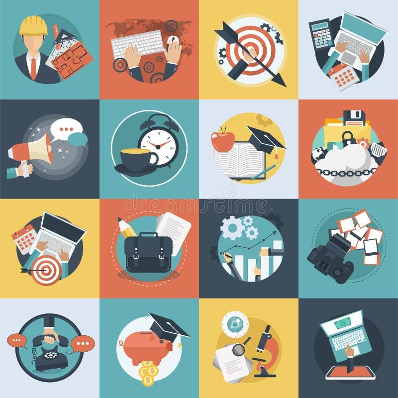 Ställde den färgrika symbolen in för affären och för teknologi för websites och mobila applikationer Plan vektor royaltyfri illustrationer