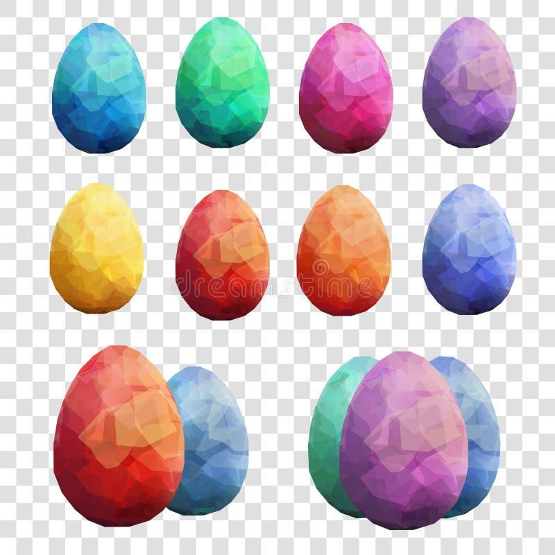 Ställde den genomskinliga vektormallen in för den lyckliga påsken med ägg stock illustrationer