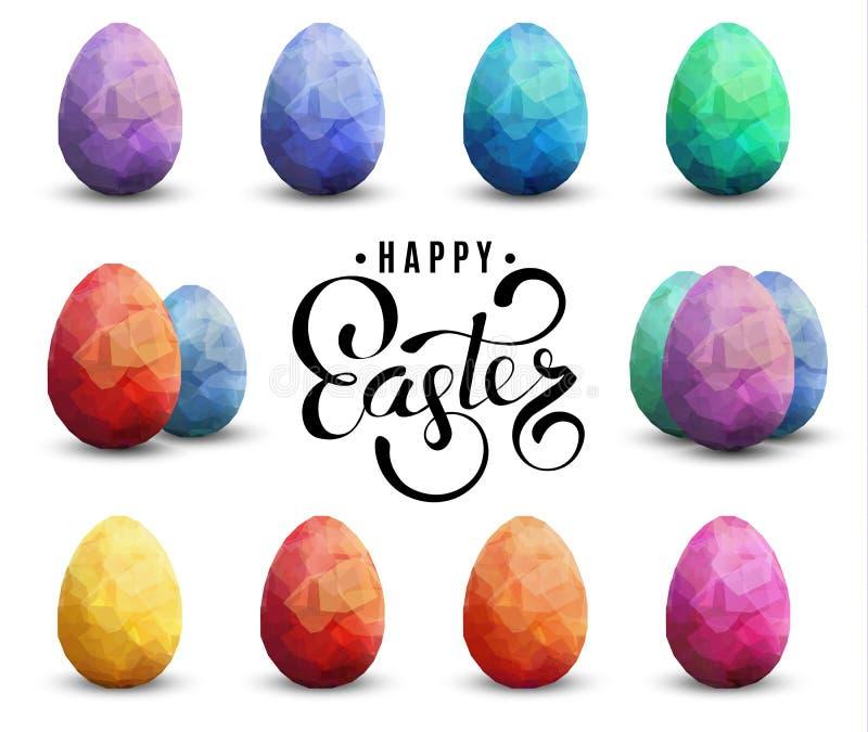 Ställde den genomskinliga vektormallen in för den lyckliga påsken med ägg vektor illustrationer