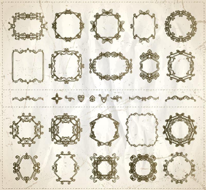 Ställde den grafiska linjen in monogramramar och avdelare för tappning mot papper för gammal stil, utdragen vektorillustration fö royaltyfri illustrationer