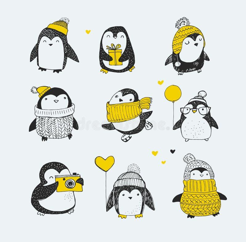 Ställde den gulliga handen drog pingvin in - hälsningar för glad jul royaltyfri illustrationer