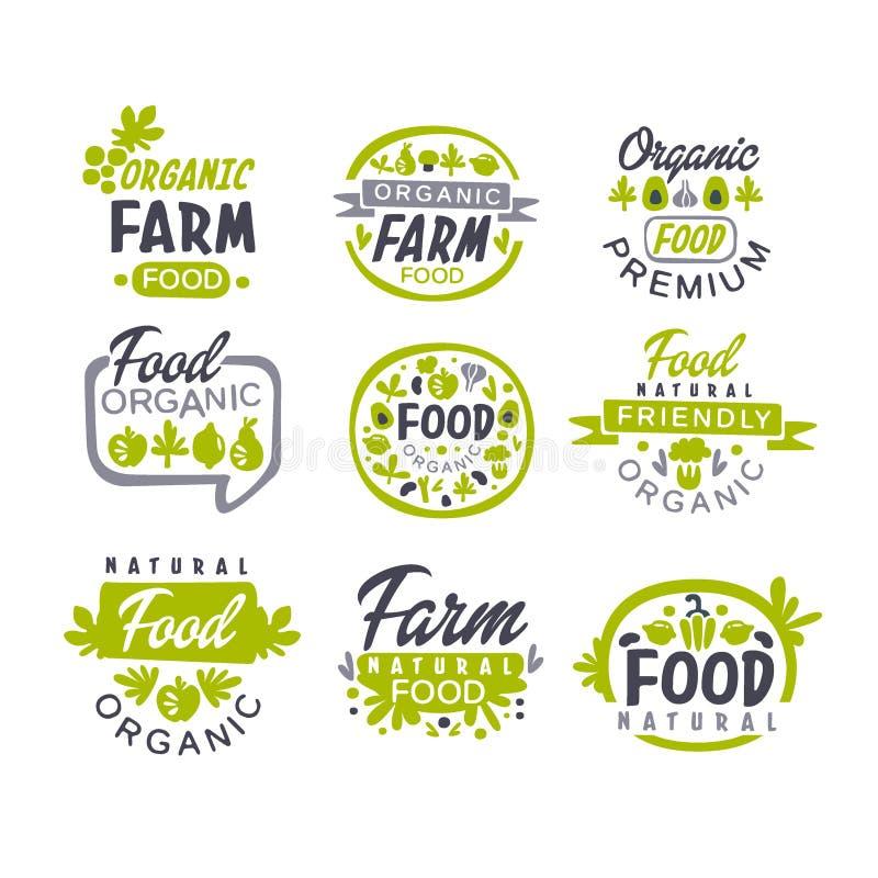 Ställde den idérika handen drog grå färg- och gräsplandesignen in av logoen för organisk mat Nya gårdsprodukter Etiketter för sho vektor illustrationer