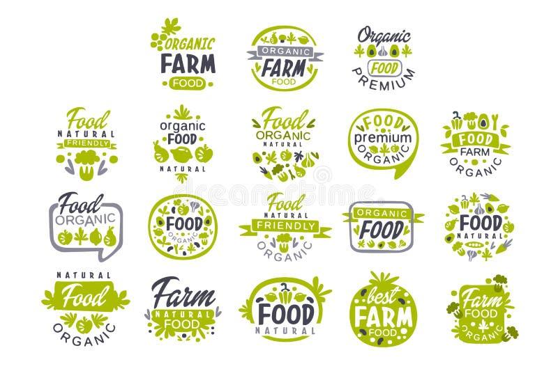 Ställde den idérika handen drog grå färg- och gräsplandesignen in av logoen för organisk mat Nya gårdsprodukter Etiketter för sho stock illustrationer