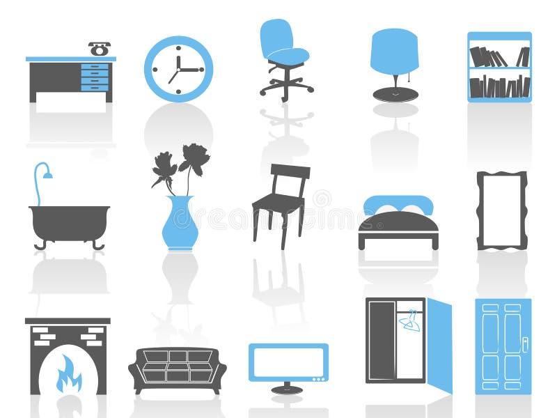ställde den inre serien in för blåa möblemangsymboler enkelt vektor illustrationer