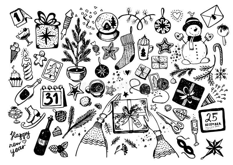 Ställde den knapphändiga vektorn hand-drog klottertecknade filmen in av objekt och symboler på tema för nytt år och jul royaltyfri illustrationer