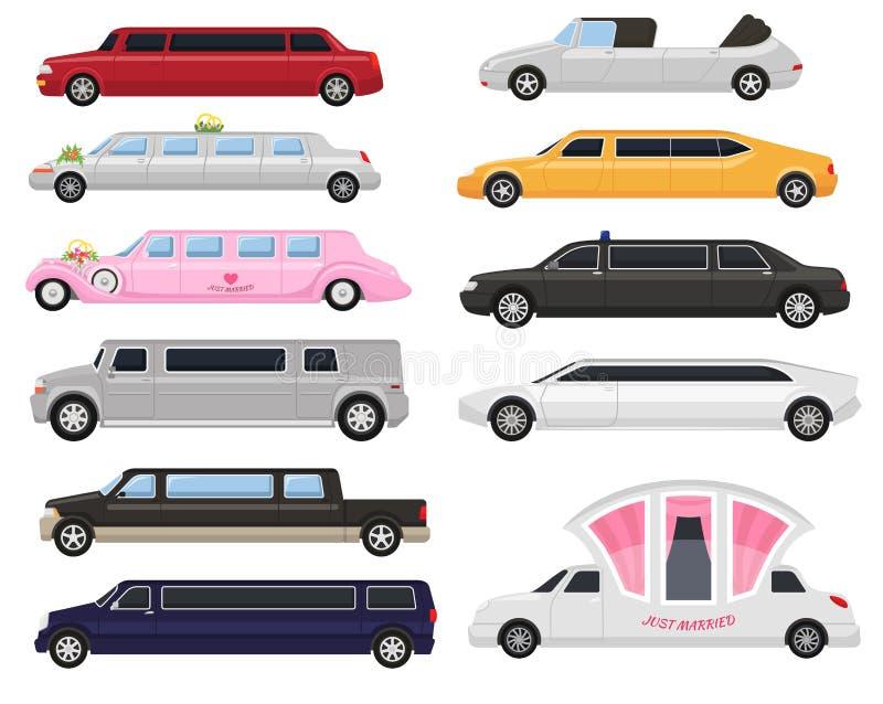 Ställde den lyxiga bilen för limousinevektorlimoen och den retro automatisktransport och medelbilillustrationen in av automatiskt royaltyfri illustrationer