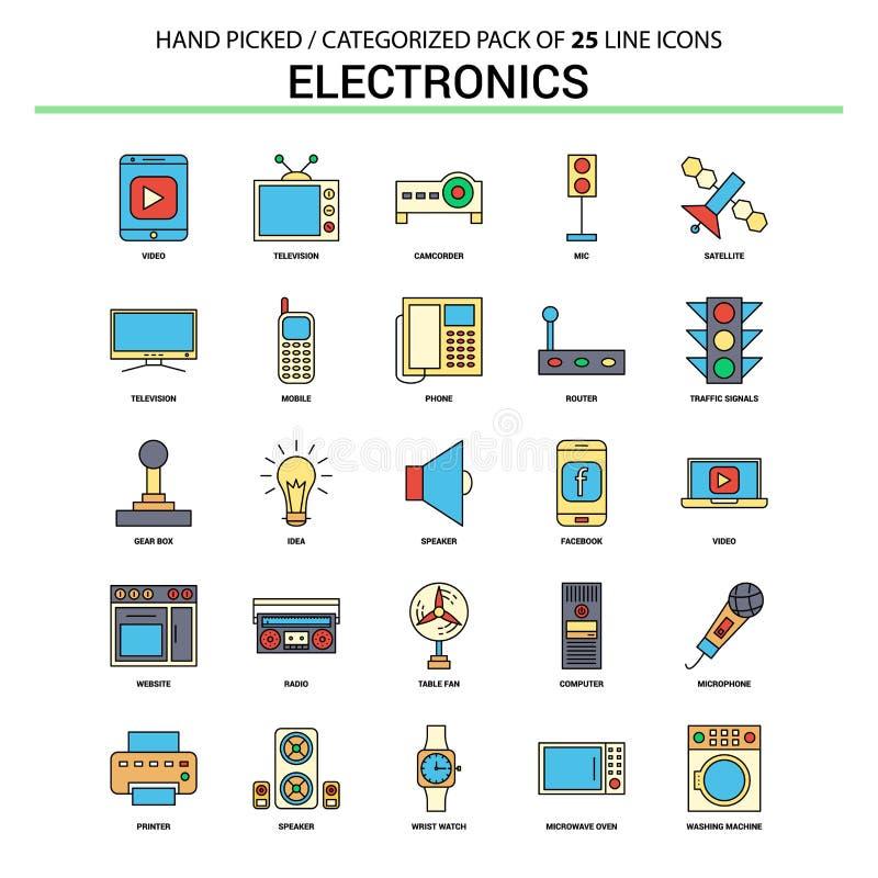 Ställde den plana linjen in symbol för elektronik - affärsidésymboler planlägger stock illustrationer