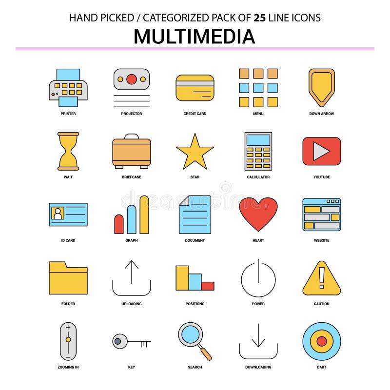 Ställde den plana linjen in symbol för multimedia - affärsidésymboler planlägger vektor illustrationer