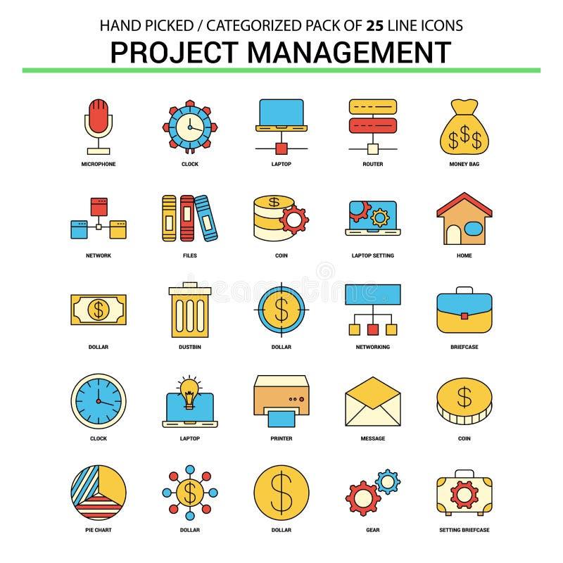 Ställde den plana linjen in symbol för projektledning - affärsidésymboler D royaltyfri illustrationer
