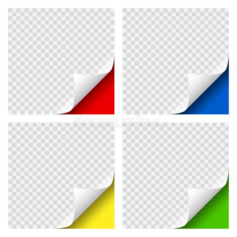 Ställde den realistiska lockiga sidan färgade hörn in med genomskinlig skugga för din design Grafisk beståndsdel för dokument vektor illustrationer
