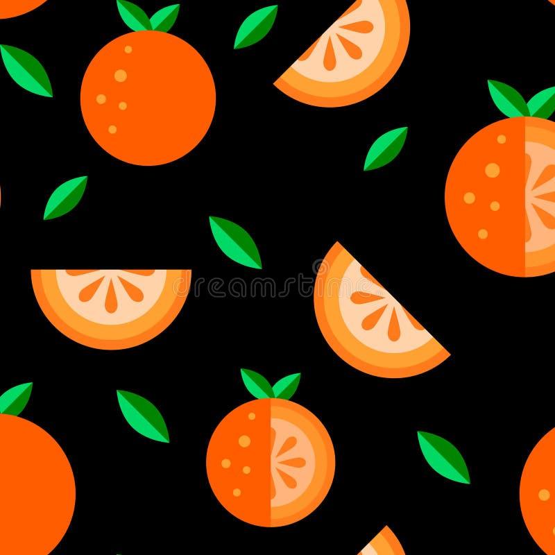 Ställde den sömlösa modellen in för orange symboler för frukt plana svart bakgrund Stil för kawaii för tecknad filmsommarmat gull royaltyfri illustrationer