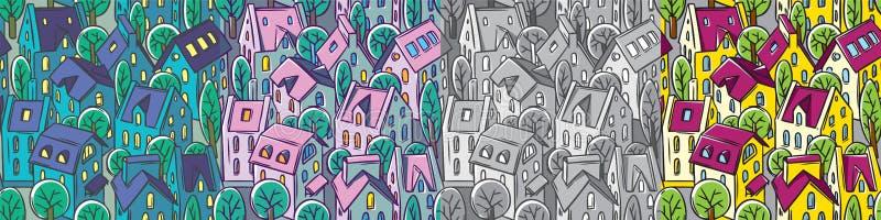 Ställde den sömlösa modellen in för staden med tak och träd royaltyfri illustrationer