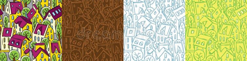 Ställde den sömlösa modellen in för staden med tak och träd stock illustrationer