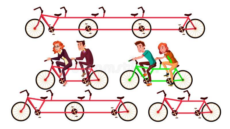 Ställde den tandema ridningen in för cykeln vid tecken vektorn stock illustrationer