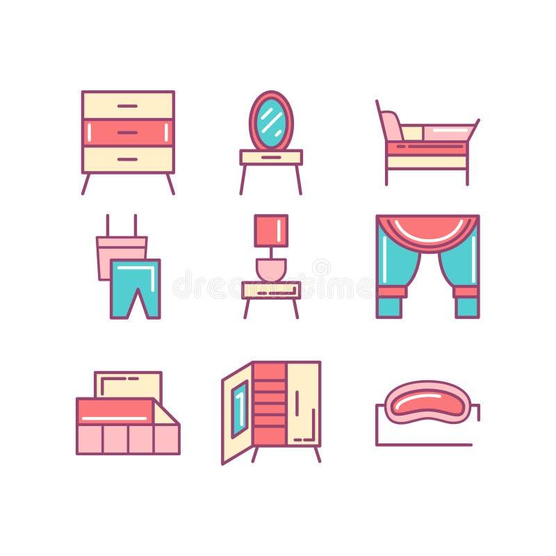 Ställde den tunna linjen in färgsymboler för sovrummet, illustrationen stock illustrationer