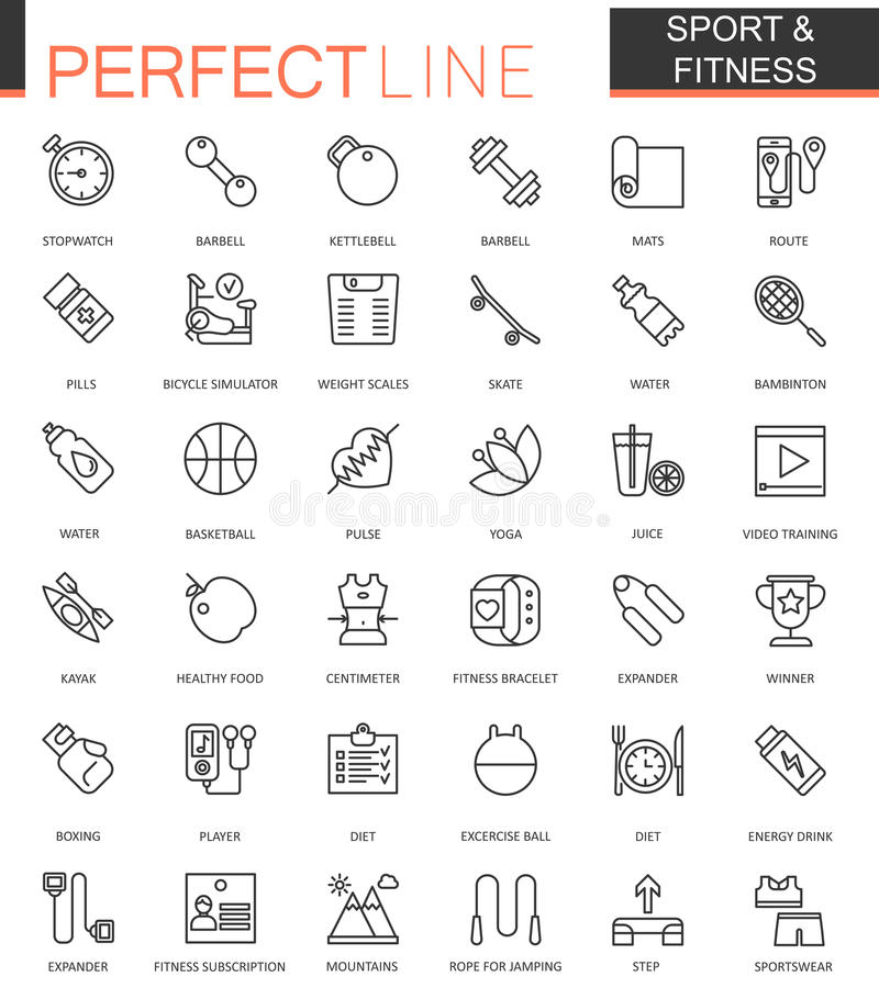 Ställde den tunna linjen in rengöringsduksymboler för sporten och för kondition Översiktssymbolsdesign vektor illustrationer