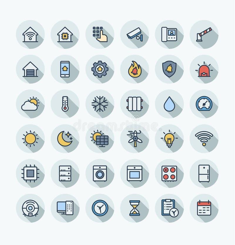 Ställde den tunna linjen in symboler för vektorlägenhetfärg med hemmet, smarta husöversiktssymboler stock illustrationer