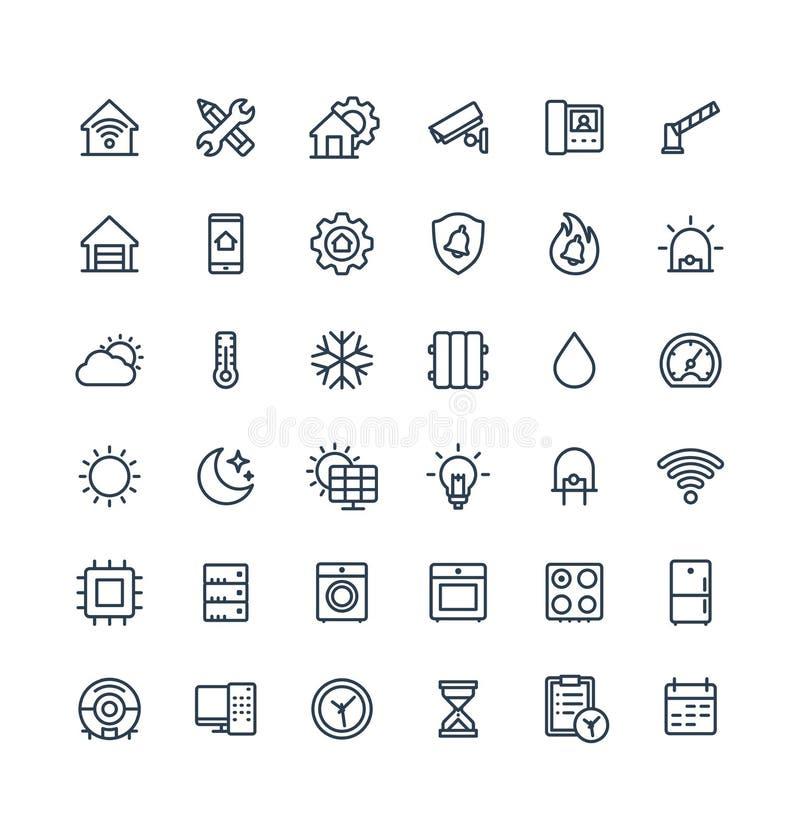 Ställde den tunna linjen in symboler för vektorn med hemmet, smarta husöversiktssymboler royaltyfri illustrationer