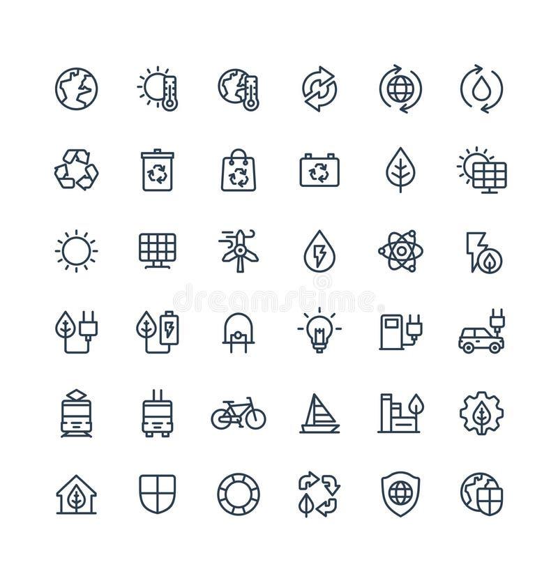 Ställde den tunna linjen in symboler för vektorn med miljö- och ekologiöversiktssymboler vektor illustrationer