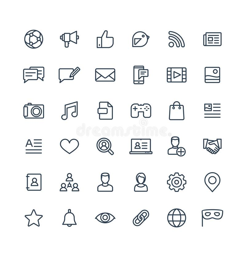 Ställde den tunna linjen in symboler för vektorn med socialt massmedia, nätverksöversiktssymboler stock illustrationer