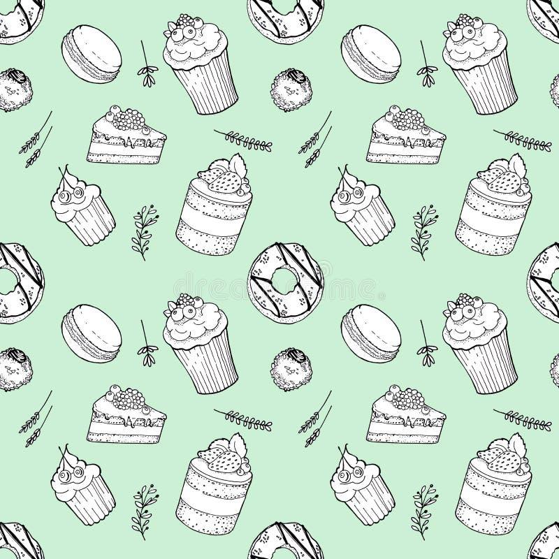 Ställde den utdragna sömlösa modellen in för handen av kakor, munken, makron, godisen, muffin med örter på mintkaramellbakgrund stock illustrationer