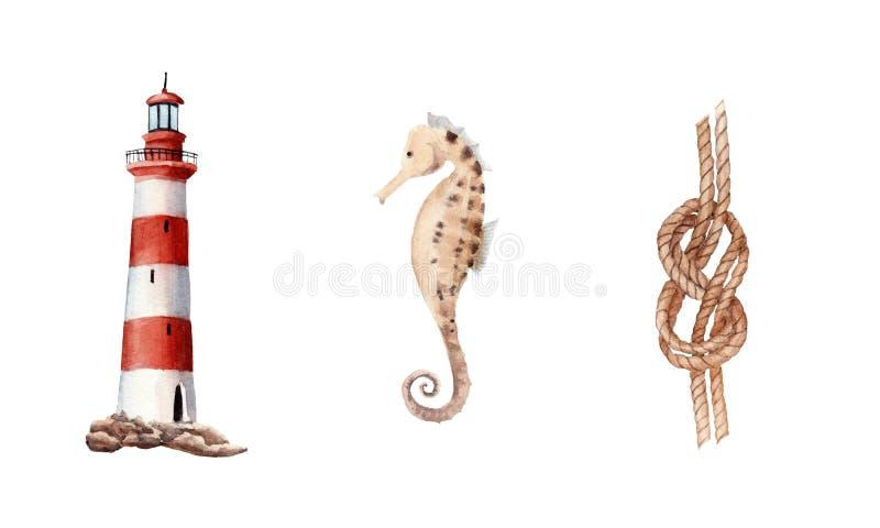 ställde den utdragna vattenfärgen in för handen med fyren, fnuren, den isolerade havshästen royaltyfri illustrationer