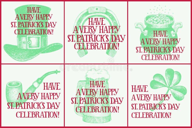 Ställde den utdragna vektorn in för handen av hälsningkort för den St Patrick s dagen Hälsningkortet med trollhatten, öl rånar, h vektor illustrationer