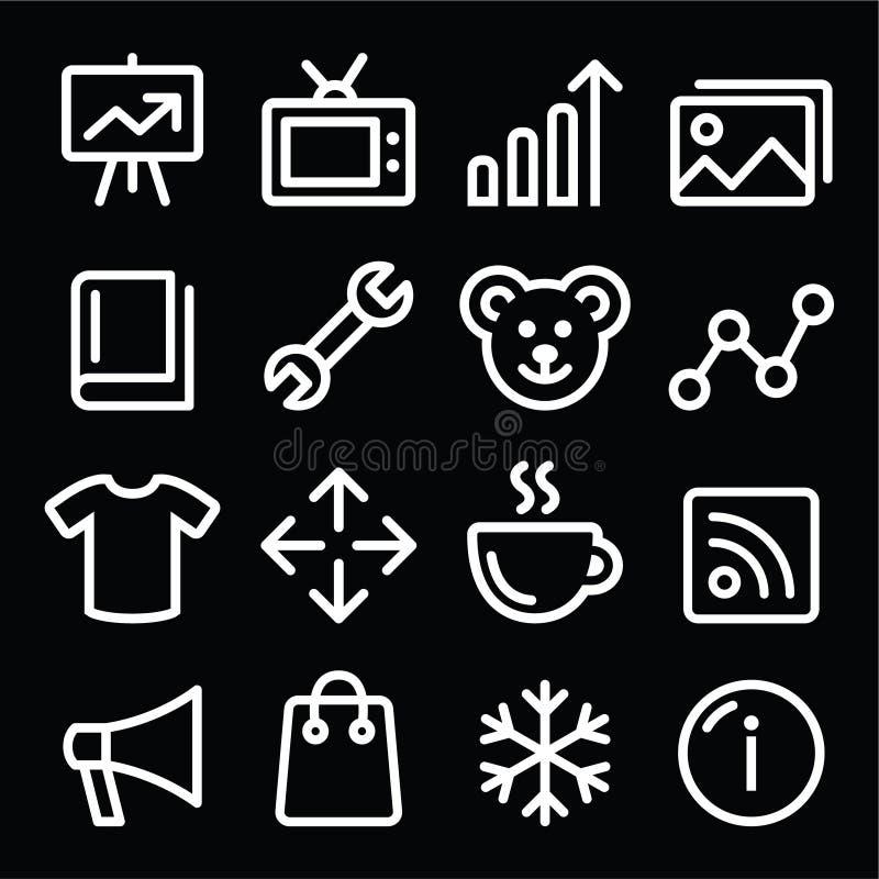 Ställde den vita navigeringlinjen in symboler för rengöringsduken - fotogallerit, online-lager vektor illustrationer