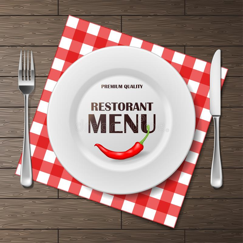 Ställde det främre banret in för restaurangmenyn med plattan och bestick på servett realistisk annonsering för restaurangmenybakg royaltyfri illustrationer