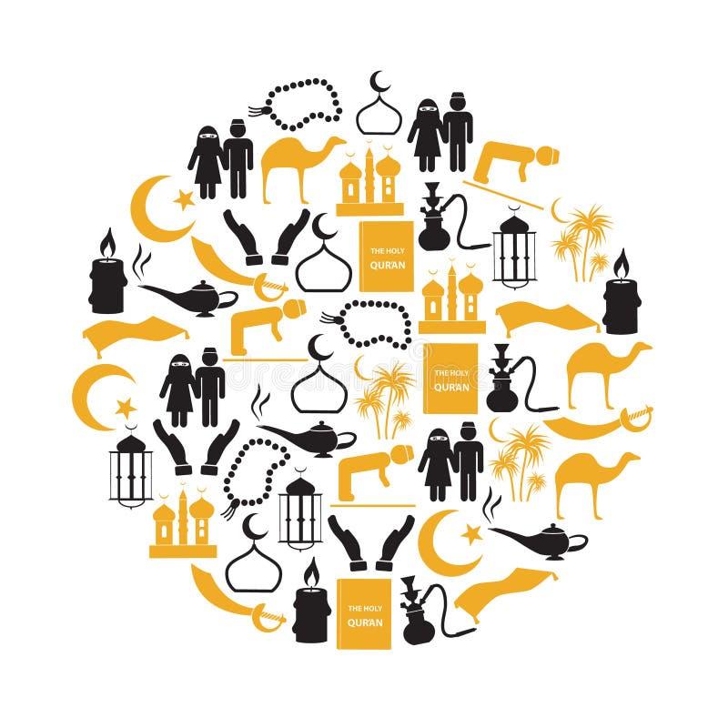 Ställde enkla symboler in för islamisk religion i cirkeln eps10 stock illustrationer