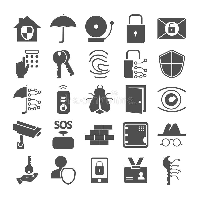 Ställde enkla symboler in för säkerhet och trygghet för rengöringsduk och mobil design vektor illustrationer