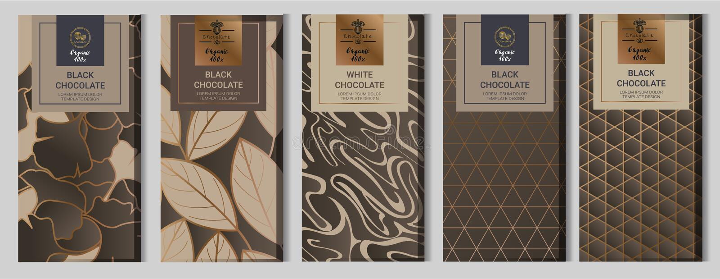 Ställde förpackande åtlöje för chokladstång upp in beståndsdelar etiketter, symbol, ramar vektor illustrationer