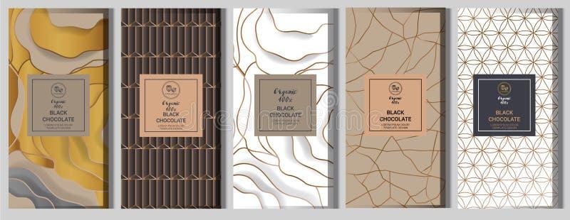 Ställde förpackande åtlöje för chokladstång upp in beståndsdelar etiketter, symbol, ramar stock illustrationer
