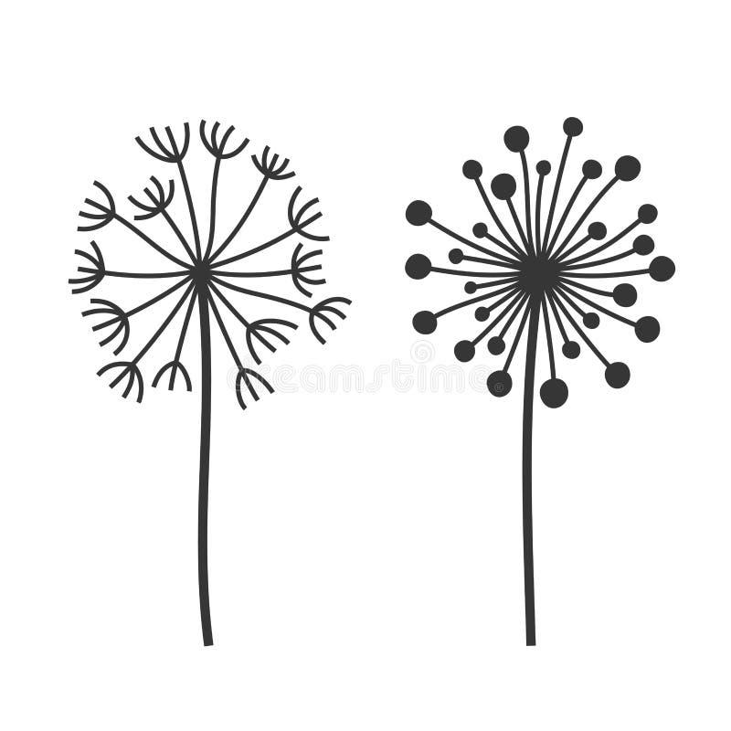 Ställde fluffiga blommor in för maskros på vit bakgrund vektor royaltyfri illustrationer