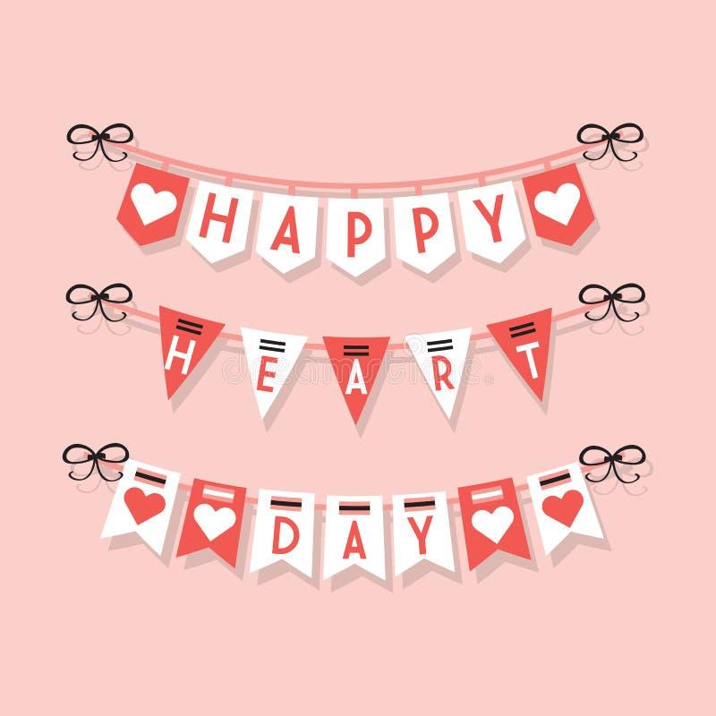 Ställde hängande buntings för lycklig hjärtadag och festliga garneringsymboler in på ljus - rosa bakgrund vektor illustrationer
