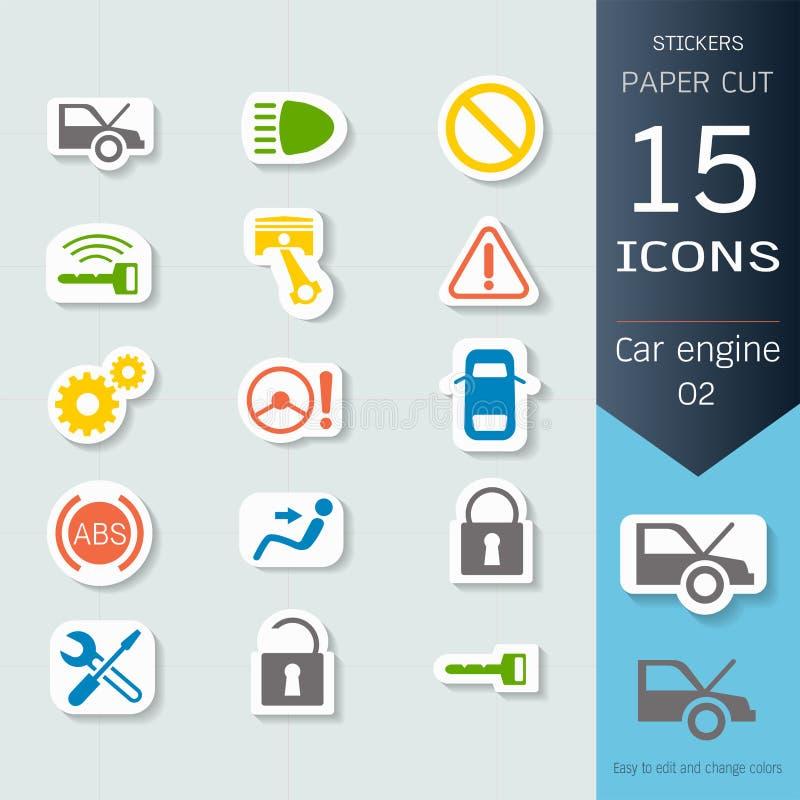 Ställde infographic symboler in för bilmotor, vektorillustrationklistermärkear och papperssnittstil royaltyfri illustrationer