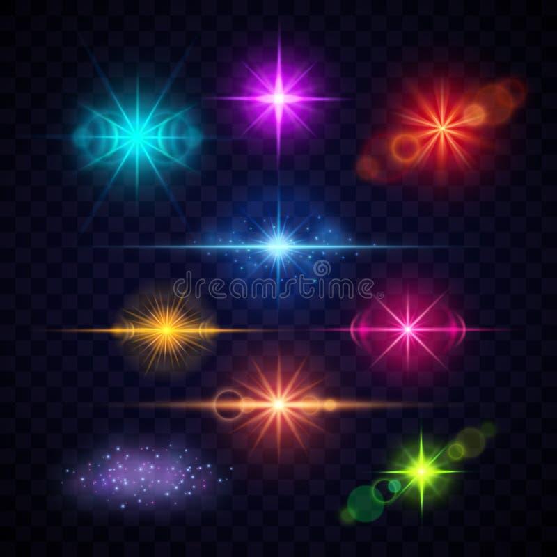 Ställde ljusa effekter in för den realistiska färglinssignalljuset, vektorpartiljus royaltyfri illustrationer