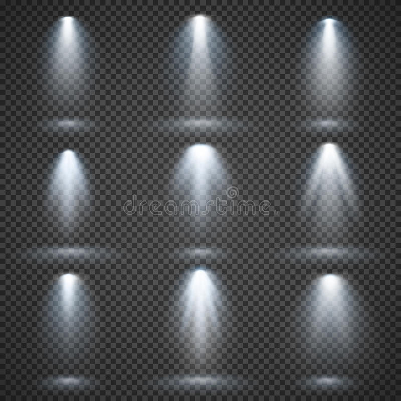 Ställde ljusa källor in för vektorn, konsertbelysning, etappstrålkastare stock illustrationer